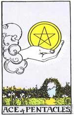 Ace Of Pentacles Tarot Card Rider-Waite