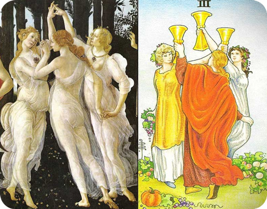 Three of cups meaning in Tarot compared to Botticelli Three Graces
