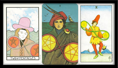 Two of pentacles in the Tarot